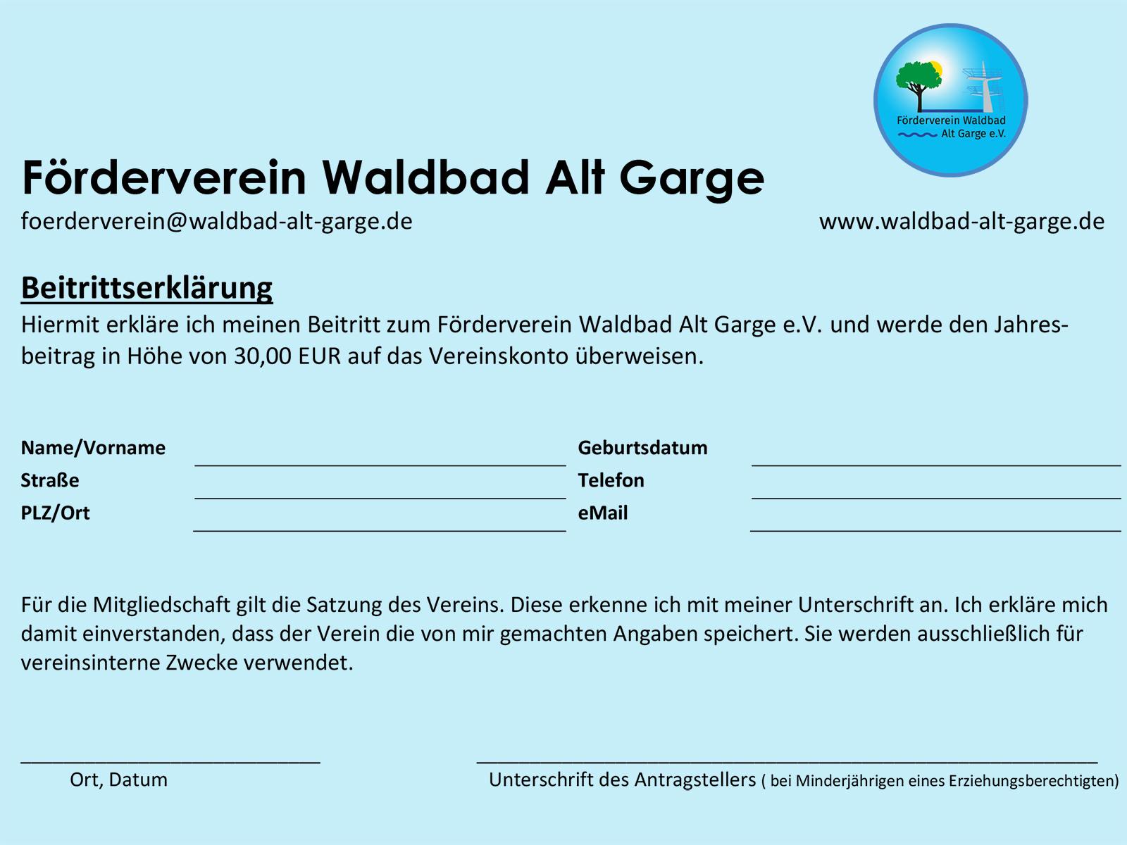 Beitrittserklärung Förderverein Waldbad Alt Garge